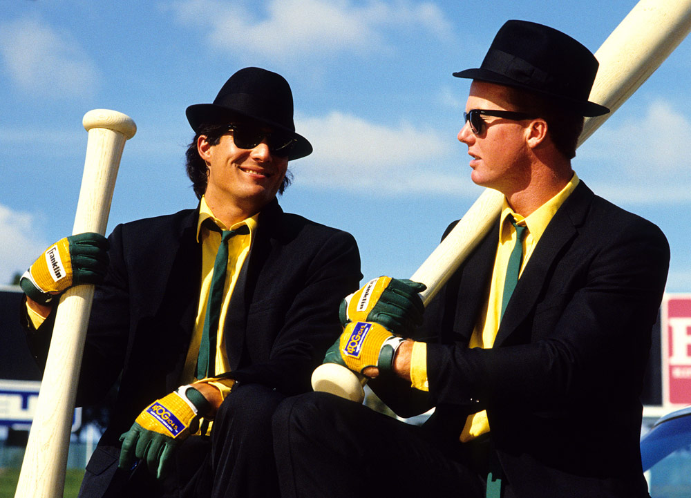 Jose Canseco and Mark McGwire pose for a picture as the Bash Brothers in Oakland, California on July 25, 1987. (Photo by Brad Mangin)