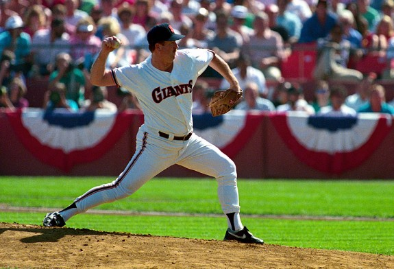 Rick Reuschel of the San Francisco Giants pitches during Game 5 of the National League Championship Series against the Chicago Cubs at Candlestick Park in San Francisco, California in 1989. (Photo by Brad Mangin)