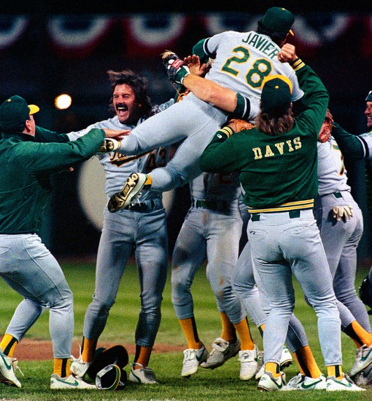 Dennis Eckersley and the Oakland Athletics celebrate winning the 1989 Earthquake World Series after beating the San Francisco Giants in Game 4 of the 1989 Series at Candlestick Park in San Francisco, California in 1989. (Photo by Brad Mangin)