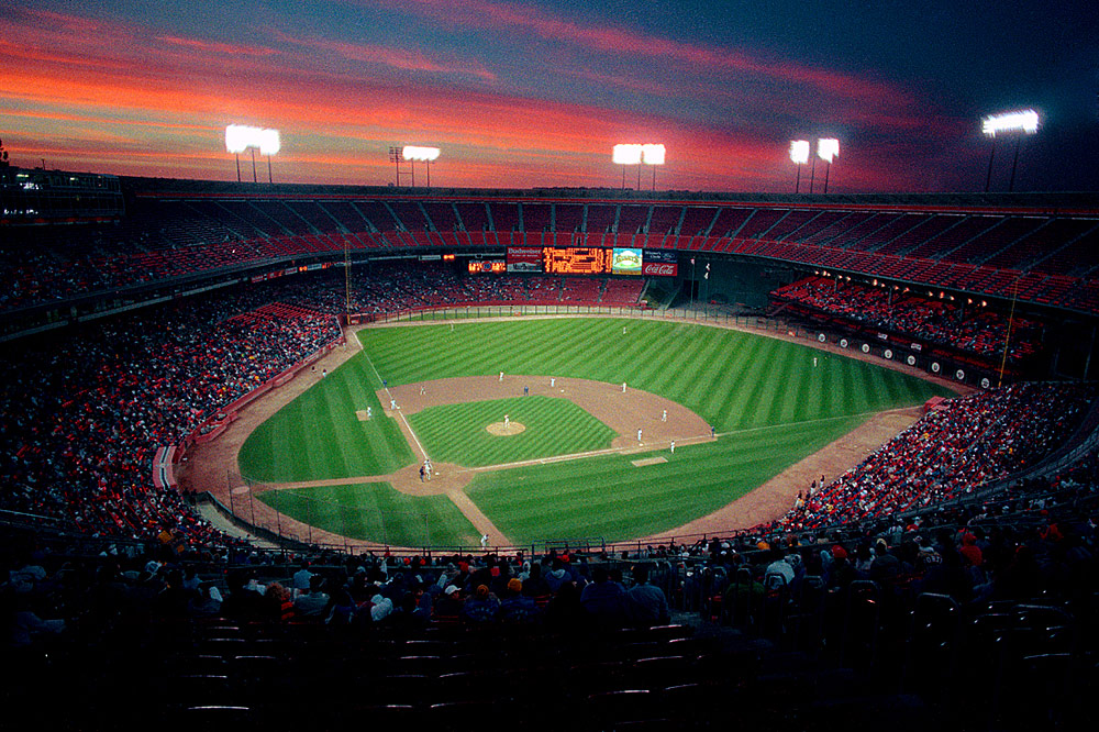 General overall stadium view of Candlestick Park at sunset in San Francisco, California in 1989. Candlestick Park was the home of the San Francisco Giants. (Photo by Brad Mangin)