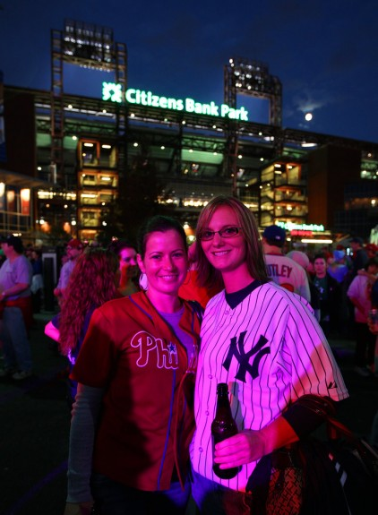World Series Fans pose for a picture outside of Citizens Bank Park in Philadelphia before Game 3 of the World Series. (Photo by Brad Mangin)