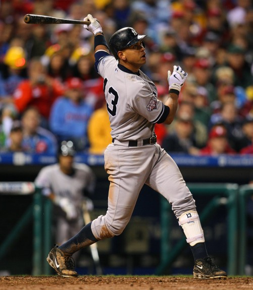 Alex Rodriguez of the New York Yankees homers to right field during Game 3 of the World Series against the Philadelphia Phillies. (Photo by Brad Mangin)