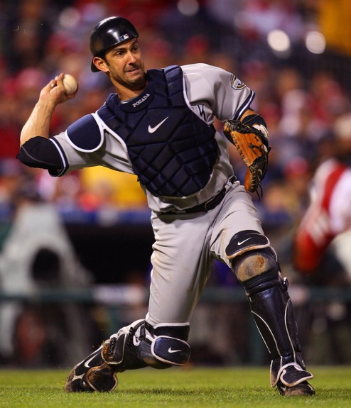Yankees catcher Jorge Posada makes a nice play on a bunt during World Series Game 3 against the Phillies. (Photo by Brad Mangin/MLB Photos)