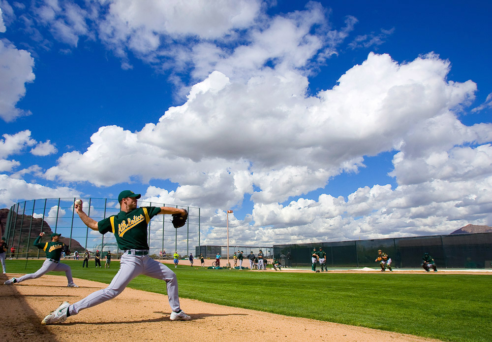 This photograph of A's pitcher Rich Harden in spring training is one of my 30 baseball photographs that will be featured in the Slide Show Night at the Annenberg Space for Photography.