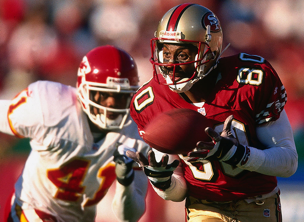 Jerry Rice of the San Francisco 49ers in action during a game against the Kansas City Chiefs at Candlestick Park in San Francisco, California on November 11, 2000. (Photo by Brad Mangin)
