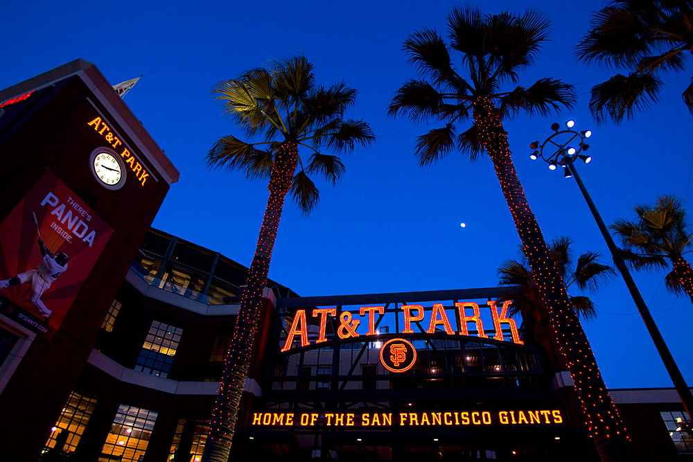 General exterior view of the San Francisco Giants home stadium AT&T Park during the game between the San Francisco Giants and the St. Louis Cardinals at AT&T Park on April 24, 2010 in San Francisco, California. (Photo by Brad Mangin)