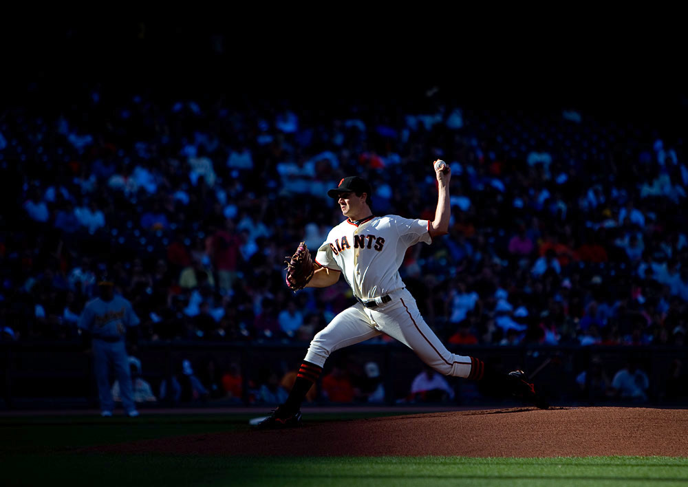 Barry Zito #75 of the San Francisco Giants pitches against the Oakland Athletics during the game at AT&T Park on June 12, 2010 in San Francisco, California. (Photo by Brad Mangin)