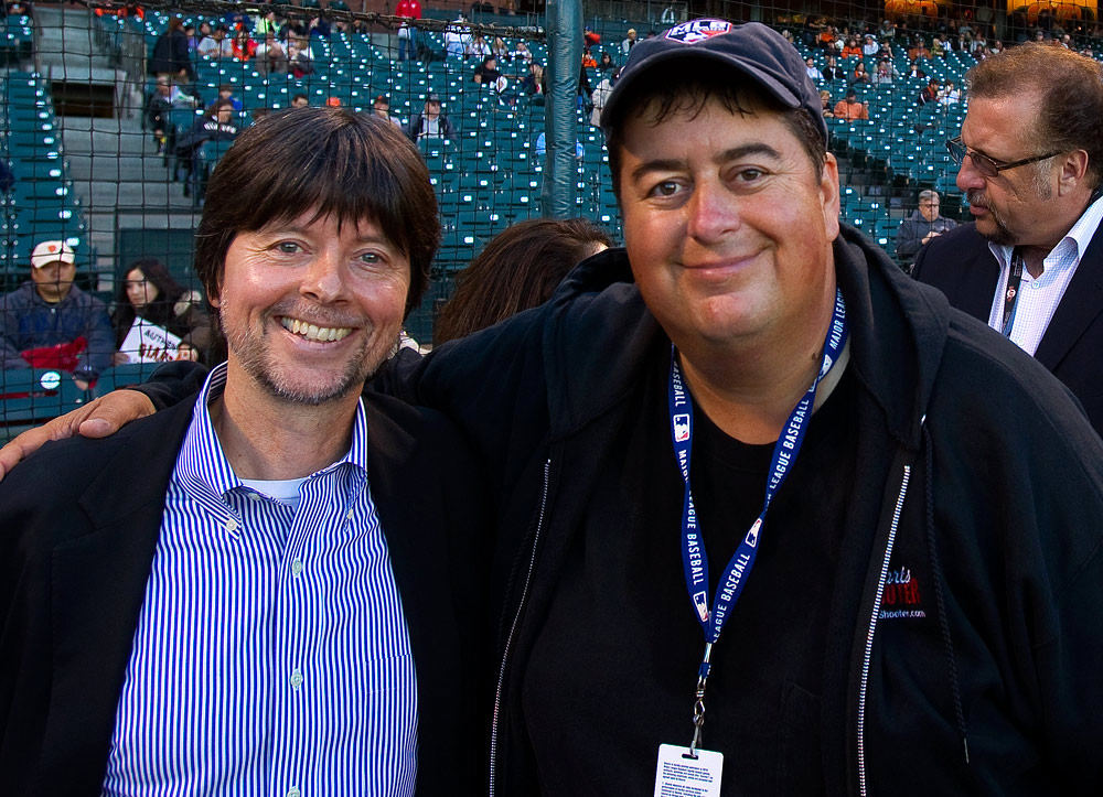 Filmmaker Ken Burns, co-director of 'The Tenth Inning', PBS's newest production, poses with photographer Brad Mangin before the game between the Los Angeles Dodgers and San Francisco Giants at AT&T Park on September 14, 2010 in San Francisco, California. (Photo by Adm Golub)