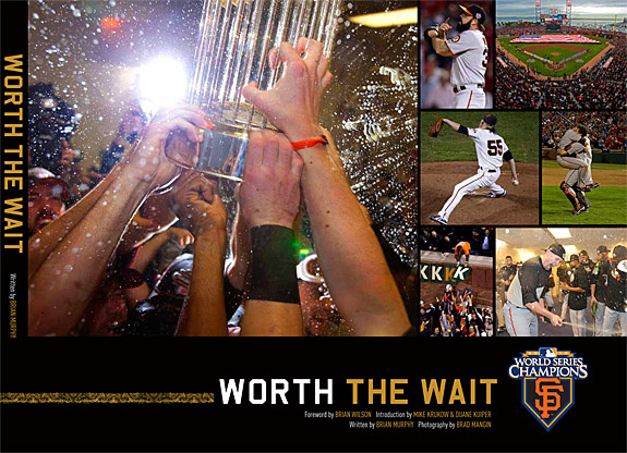 This is a temporary cover for WORTH THE WAIT. The final cover will be very similar with a few of the smaller images swapped out for others. The book is 128 pages and hard cover. It is on sale now for $25 and will be available on Opening Day. Buy it now at www.sfgiantsbook.com.