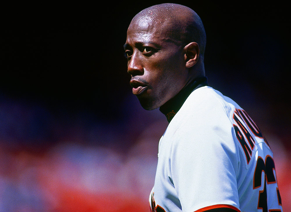 Actor Wesley Snipes wears a San Francisco Giants uniform as Bobby Raybrun as he films a scene for the motion picture &quot;The Fan&quot; before a game at Candlestick Park in San Francisco, California in 1994. (Photo by Brad Mangin)