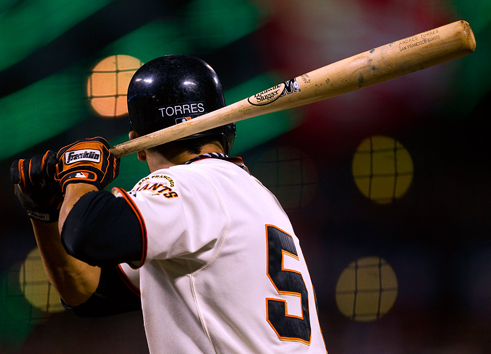 Andres Torres of the San Francisco Giants bats against the Philadelphia Phillies during Game 5 of the NLCS at AT&T Park on October 21, 2010 in San Francisco, California. (Photo by Brad Mangin)