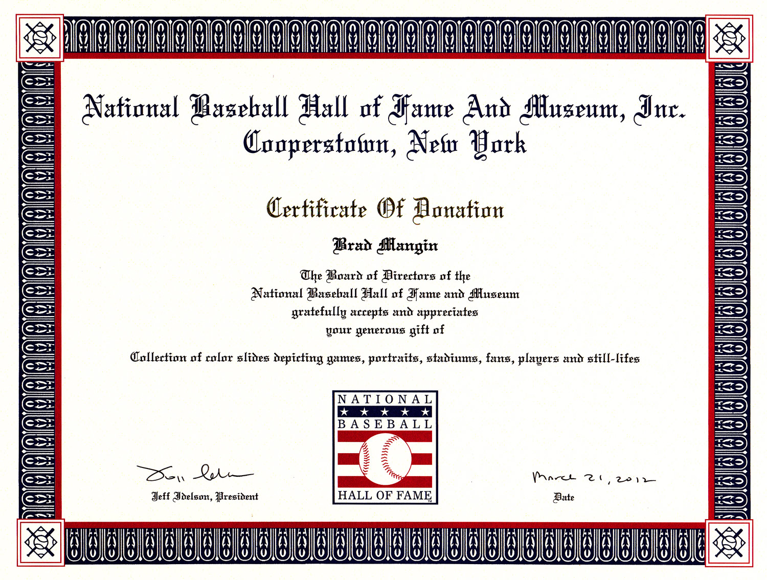 Donation to Baseball Hall of Fame fulfills dream - Mangin ...