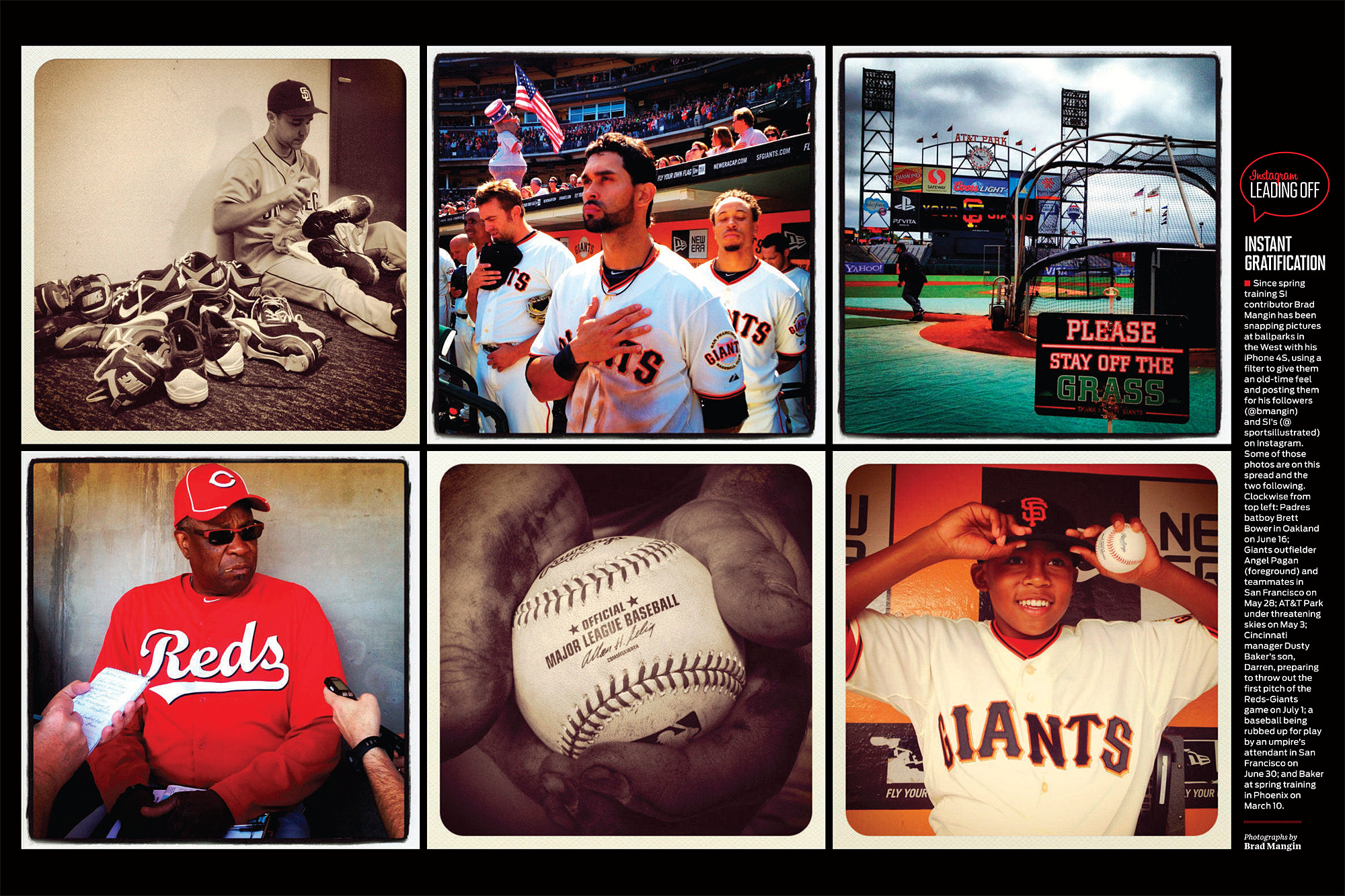 CLICK ON PICTURE FOR BIGGER IMAGE: This spread of baseball iPhone Instagrams was published as a Leading Off double truck in Sports Ilustrated this week. (Photos by Brad Mangin)