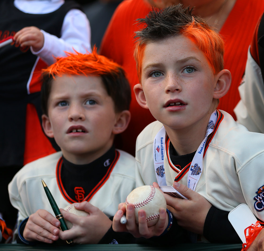 Young Giants fans try and get autographs before Game 1 of the 2012 World Series between the Detroit Tigers and the San Francisco Giants on Wednesday, October 24, 2012 at AT&T Park in San Francisco, California. (Photo by Brad Mangin/MLB Photos)