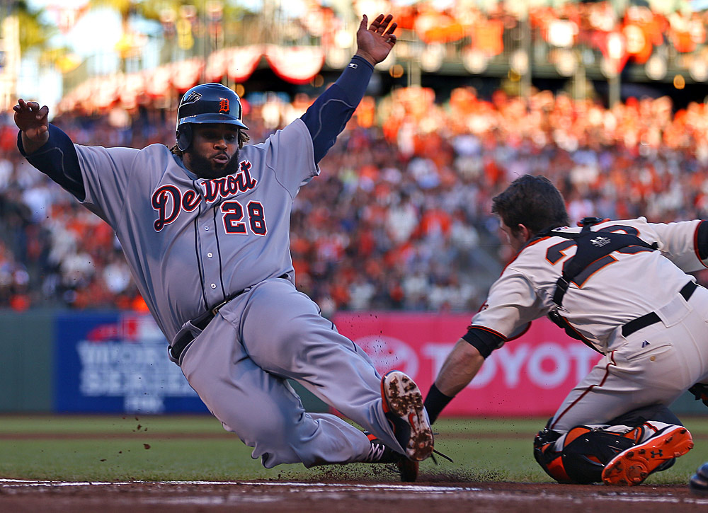 Prince Fielder #28 of the Detroit Tigers is tagged out at home plate by Buster Posey #28 of the San Francisco Giants in the top of the second inning during Game 2 of the 2012 World Series between the Detroit Tigers and the San Francisco Giants on Thursday, October 25, 2012 at AT&T Park in San Francisco, California. (Photo by Brad Mangin/MLB Photos)