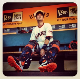 Instagram of San Francisco Giants catcher Buster Posey putting on his catcher's gear in the dugout before the game against the Los Angeles Dodgers at AT&T Park on September 9, 2012 in San Francisco, California. (Photo by Brad Mangin)