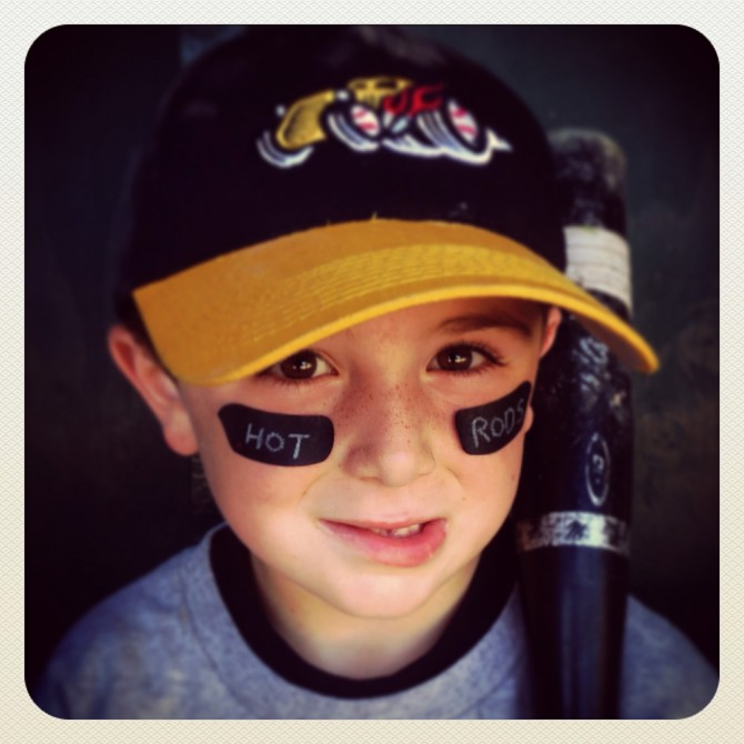 Instagram of Declan Murphy of the Hot Rods posing for a portrait in the dugout during their game against the Mud Hens at Boyle Park in Mill Valley, CA on May 10, 2013. (Photo by Brad Mangin)