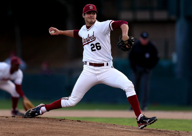 Mark Appel of Stanford University pitches during the game against UNLV at Sunken Diamond on March 8, 2013 in Palo Alto, California. (Photo by Brad Mangin)
