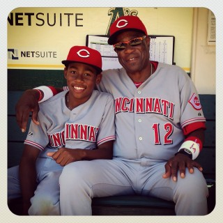 Instagram of Manager Dusty Baker #12 and his son Darren Baker of the Cincinnati Reds siting in the dugout before the game against the Oakland Athletics at O.co Coliseum on Wednesday June 26, 2013 in Oakland, California. (Photo by Brad Mangin)