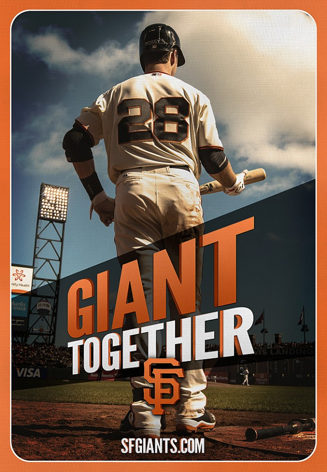 Buster Posey is featured in this HUGE Ballpark banner as part of the San Francisco Giants ad campaign, produced by Baker Street Advertising. (Photo by Brad Mangin)