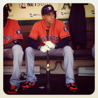 Instagram of George Springer #4 of the Houston Astros sitting in the dugout before the game against the Oakland Athletics at O.co Coliseum on Saturday, April 19, 2014 in Oakland, California. (Photo by Brad Mangin)