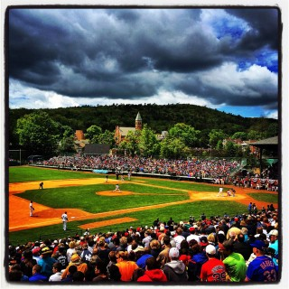 Instagram of Pedro Martinez pitching in the Hall of Fame Classic on Saturday, May 23, 2014 at historic Doubleday Field in Cooperstown, New York. (Photo by Brad Mangin)