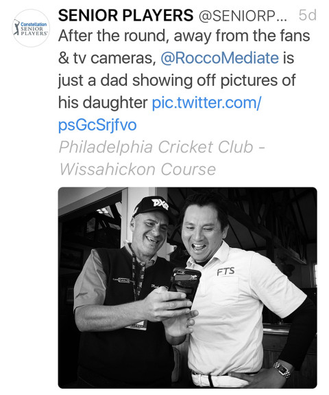 My iPhone picture of Rocco Mediate were published on the official PGA TOUR Champions Twitter account. (Photo by Brad Mangin/PGA TOUR)