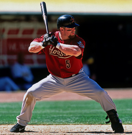 OAKLAND, CA - Jeff Bagwell of the Houston Astros in action during a game against the Oakland Athletics at the Oakland Coliseum in Oakland, California in 2002. Photo by Brad Mangin