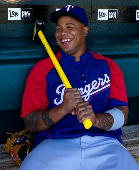 Andruw Jones of the Texas Rangers sits in the dugout before the game against the San Francisco Giants at AT&T Park in San Francisco, California on Saturday, June 20, 2009. (Photo by Brad Mangin)